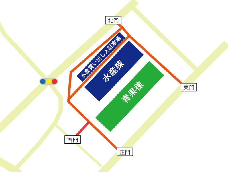 大阪北部中央市場場内地図